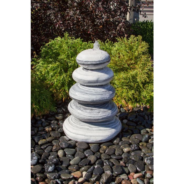 Blue Thumb 30″ White Gray Marble - Cairn Fountain Kit ABART7430 - ProYardSupply