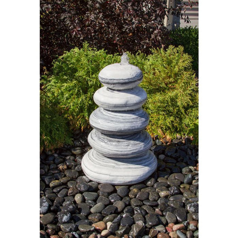 Image of Blue Thumb 30″ White Gray Marble - Cairn Fountain Kit ABART7436 - ProYardSupply