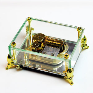 Stunning 30 Note Glass with Mirrored Base Crystal Music Box (multiple songs available)