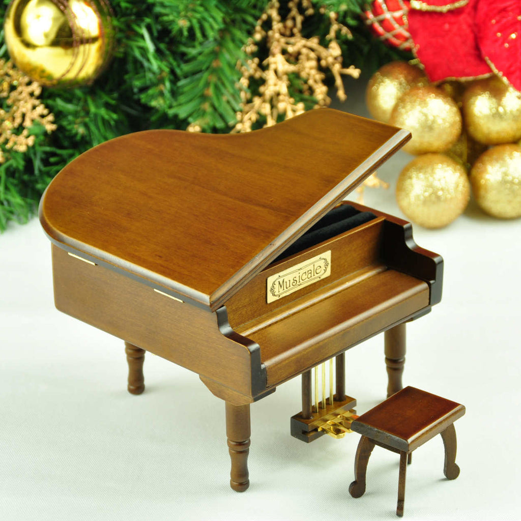 Mini Wooden Piano with Stool Music Box For Christmas/Birthday/Valentine's day