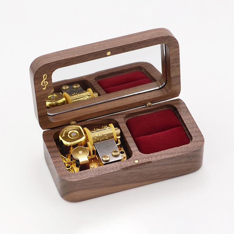 Premium Wooden Music Box with Ring Holder and ON/OFF Feature (Popular Anime/Movie/TV/Singer Tunes Collection)