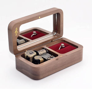 Premium Wooden Music Box with Ring Holder and ON/OFF Feature (30+ Popular Tunes Collection)