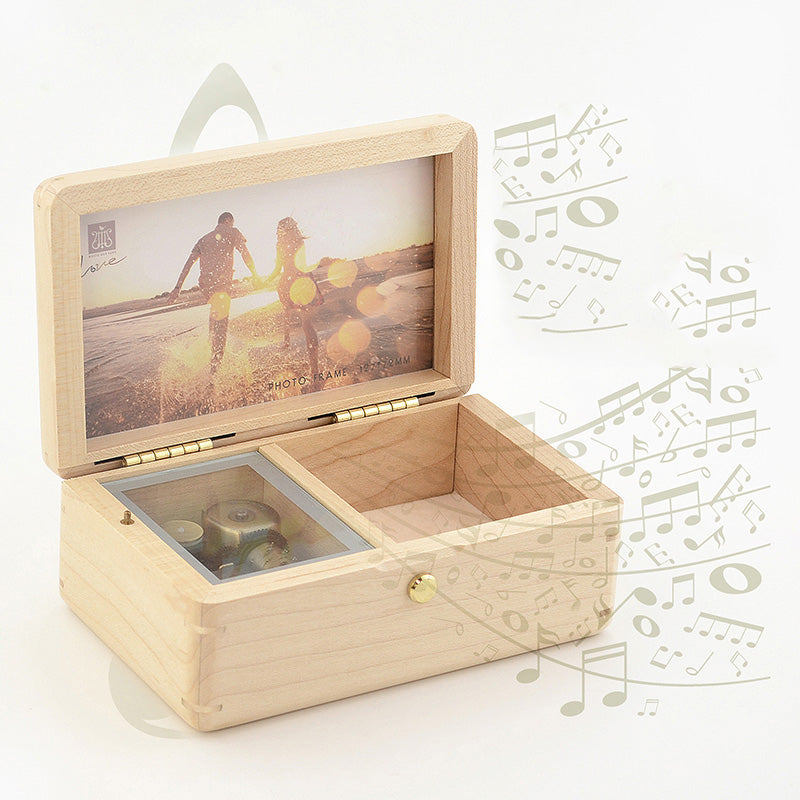 Premium Can't Help Falling in Love Wooden Music Box with Photo Frame & Jewelry Box