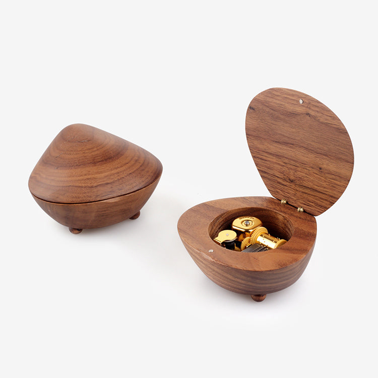 Premium Shell Shaped 18Note Wooden Music Box (30+ Popular Tunes Collection)