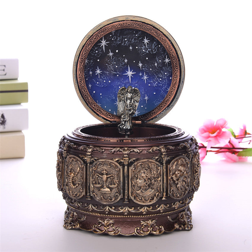 Vintage Zodiac 12 Constellations Music Box with LED Lights