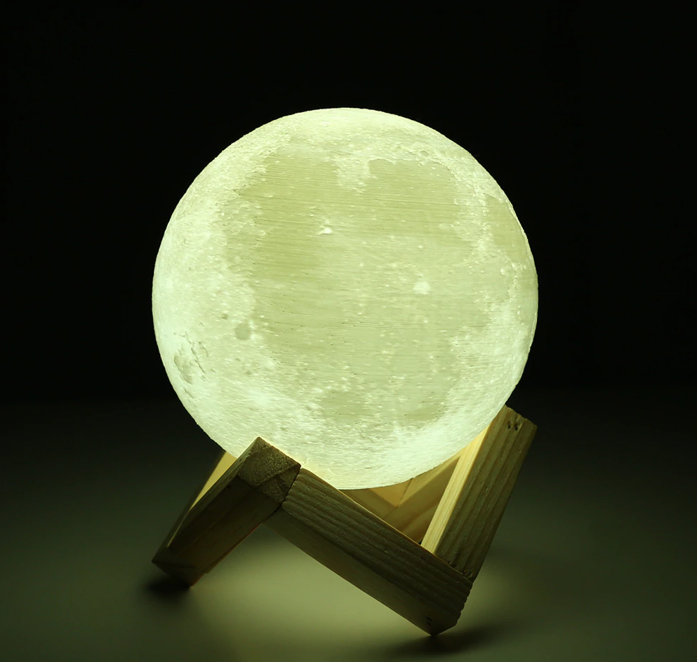 Rechargeable 3D Lights Print Moon Lamp Bedroom Led Night Light 2 Color