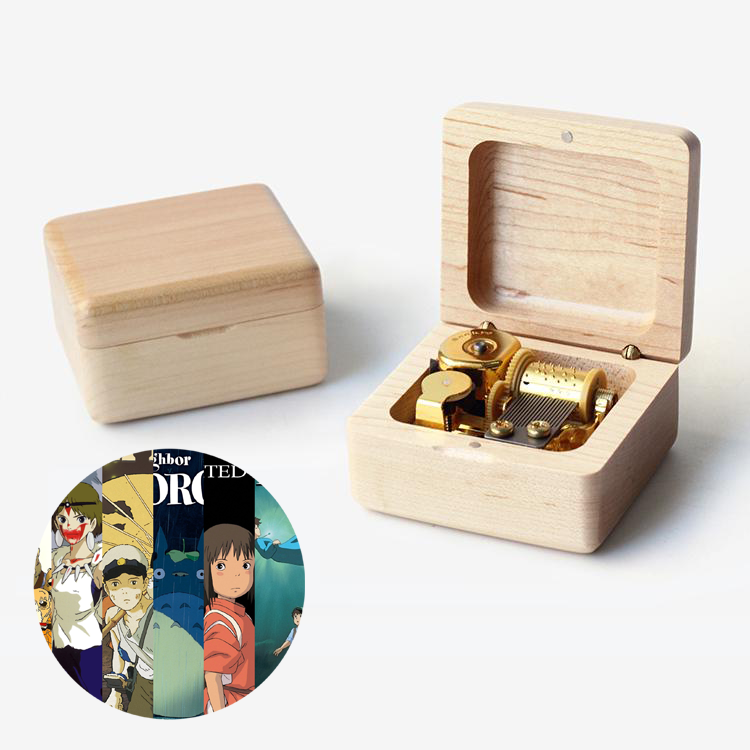 Premium Wooden Music Box With Tunes of Spirited Away / Castle In The Sky / Howls Moving Castle / My Neighbor Totoro / Princess Mononoke