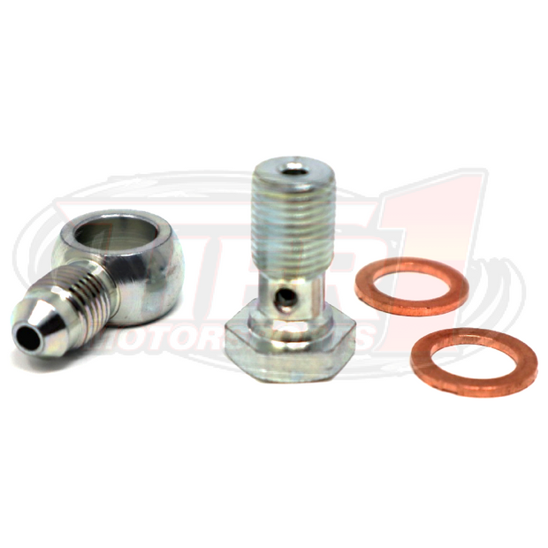 Tier1 Motorsports: One steel -3an banjo and 10mm x 1.0 thread banjo bolt and (2) copper crush washers