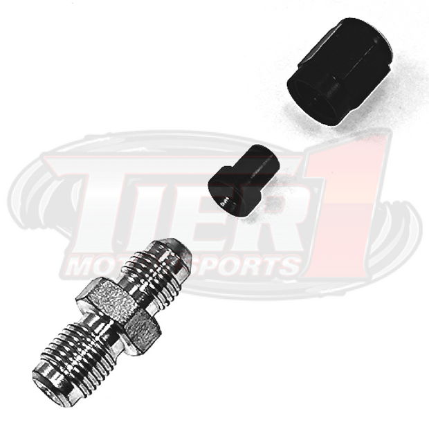 Brake Tuck Kit w/ Banjo Bolts by Tier1 Motorsports - Kit Includes: 22 Tube nuts and sleeves; 4 straight bulkhead fittings; 2 90 degree bulkhead fittings; 6 bulkhead nuts; 2 Banjo Bolts with crush washers; 8 zinc coated steel M10x1.0 to -03AN metric adapters