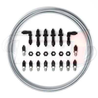 "Brake Tuck Kit w/ 3-16"" Brake Lines  by Tier1 Motorsports - Kit Includes: 22 Tube nuts and sleeves; 4 straight bulkhead fittings; 2 90 degree bulkhead fittings; 6 bulkhead nuts; 10 zinc coated steel M10x1.0 to -03AN metric adapters; 25' of 3/16"" steel brake lines / hard line"