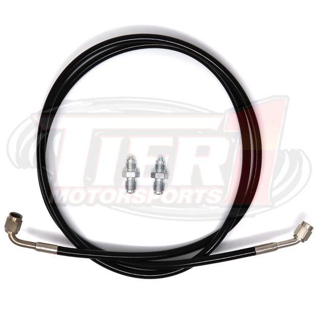 "Steel Braided Clutch Line Kit by Tier1 Motorsports. Kit Includes :1- 54"" Stainless Steel Braided -3AN Hose w/ Hose Ends; 90 degree on one side; 45 degree on the other; 2- Steel M10x1.0 to -3AN fittings (inverted flare for proper seal)."