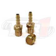 Brass Barb Fittings & Filter Kit (for 3-Port MAC Boost Control Solenoid Valve- not included) by Tier1 Motorsports. Kit Includes: 2x Brass barbed fittings (1/8npt x 3/16 barb); 1x Brass filter/muffler.