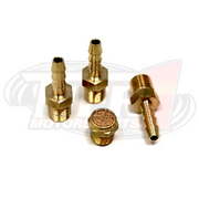 Brass Barb Fittings & Filter Kit (for 4-Port Boost Control Solenoid Valve- not included) by Tier1 Motorsports. Kit Includes: 3x Brass barbed fittings (1/8npt x 3/16 barb); 1x Brass filter/muffler.