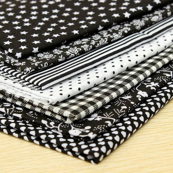 7 pieces Cotton Black Series Sewing Cloth Dolls Purse Handwork Patchwork Fabric