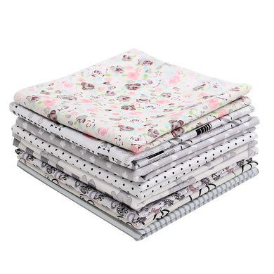 9 PCS Grey Handmade Cotton Plain Fabric Craft Batiks Cloth Assorted Square Quilting Set - 400*500 mm