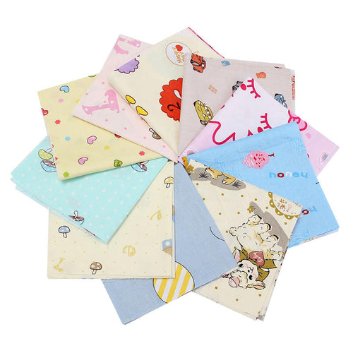 10 PCS  Cute Cartoon Pattern Cotton Material Vintage Shabby Chic Summer Cloth Colors