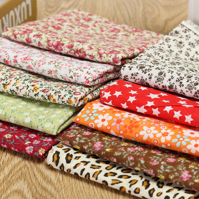 10PCS 50*50 cm DIY Handmade Cotton Floral Plain Fabric Craft Cloth Material Square Quilting Set
