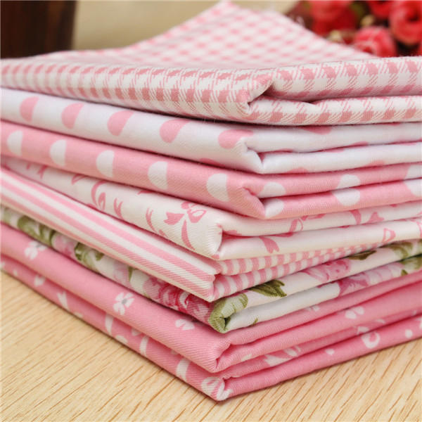 8 pcs Pink Cotton Sewing Fabric Handwork Curtain Patchwork Cloths