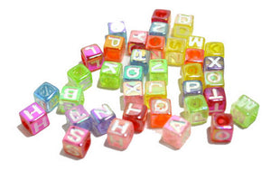 150 PCS Assorted Acrylic Cube Beads Craft Supplies 7*7MM