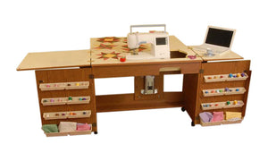 Arrow Sewing Cabinet Bertha Sewing Machine Airlift with Sewing Kit Organizer - Oak Finish