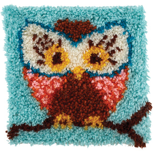 "Caron Wonderart Latch Hook Kit 12""""X12""""-Hoot Hoot"