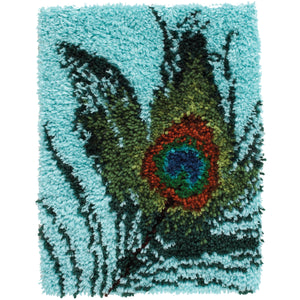"Caron Wonderart Latch Hook Kit 15""""X20""""-Peacock Feather"