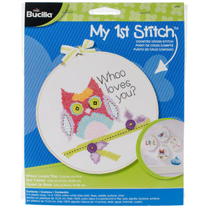 "Bucilla/My 1st Stitch Mini Counted Cross Stitch Kit 6"""" Round-Whoo Loves You (14 Count)"
