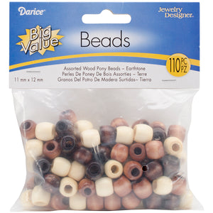 Wood Pony Beads 11mmX12mm 110/Pkg-Earth Tones