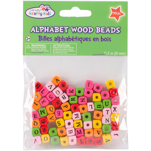 Wood Alphabet Beads 8mm 70/Pkg-Assorted Colors