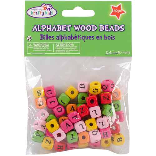 Wood Alphabet Beads 10mm 60/Pkg-Assorted Colors