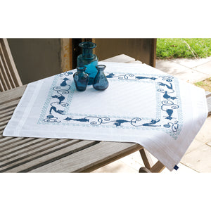 "Cheerful Cats Tablecloth Stamped Embroidery Kit-32""""X32"""""