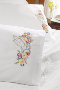 "Bucilla Stamped Embroidery Pillowcase Pair 20""""X30""""-Praying Hands"