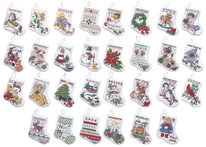 "Bucilla Counted Cross Stitch Kit 3.5"""" 30/Pkg-Tiny Stocking Ornaments (14 Count)"