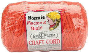 Bonnie Macrame Craft Cord 6mmX100yd-Orange