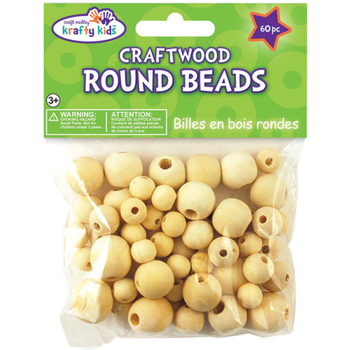 Craftwood Round Beads 10mm To 16mm 60/Pkg-Natural