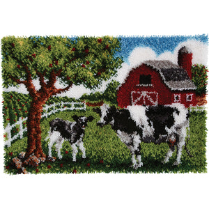 "Caron Wonderart Latch Hook Kit 27""""X40""""-Contented Cows"