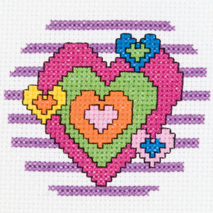 "Bucilla/My 1st Stitch Mini Counted Cross Stitch Kit 3"""" Round-Heart (14 Count)"