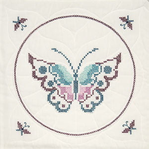 "Fairway Stamped Quilt Blocks 18""""X18"""" 6/Pkg-Butterfly"