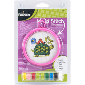 "Bucilla/My 1st Stitch Mini Counted Cross Stitch Kit 3"""" Round-Turtle (14 Count)"