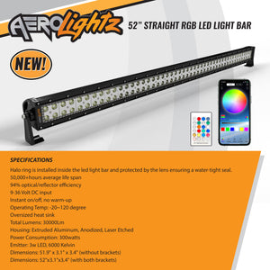 COMBO PACK Aerolightz 52Inch 300w Straight Led light bar with RGB HALO