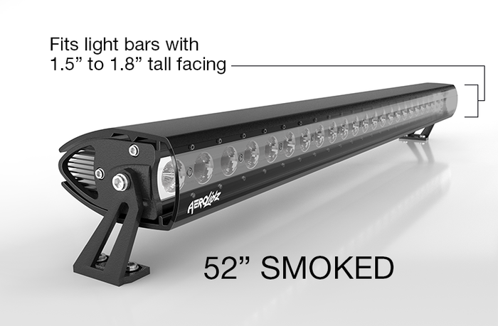"AeroLidz Light Bar Cover - 50""/ 52"" - Smoked - Single Row"
