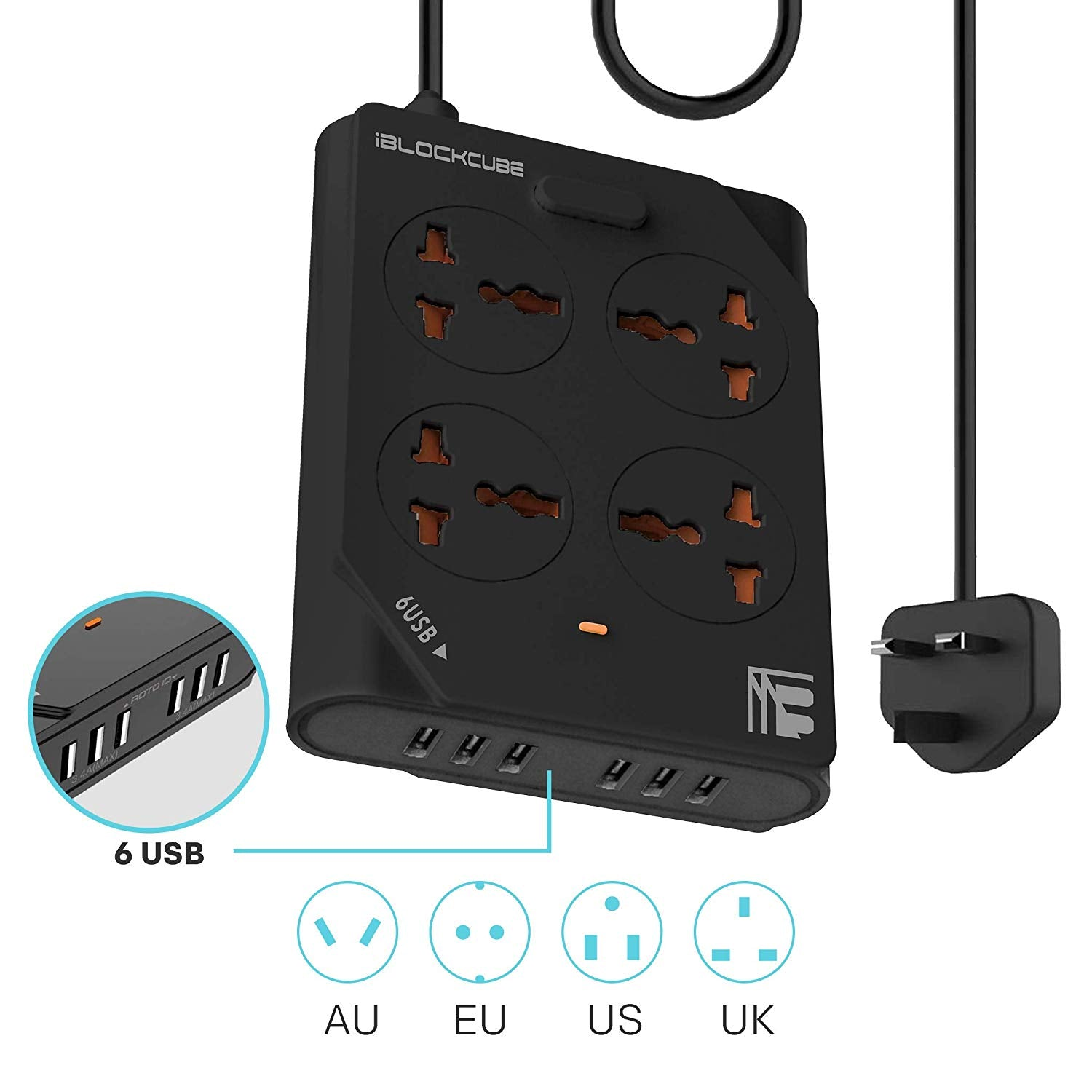MX 4-WAY OUTLET WITH 6 USB PORTS - BLACK