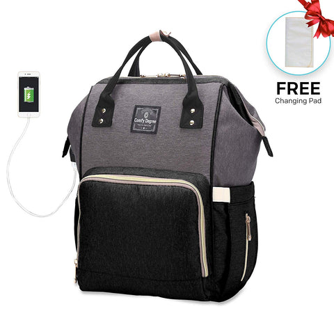 NAPPY CHANGING BACKPACK - BLACK GREY