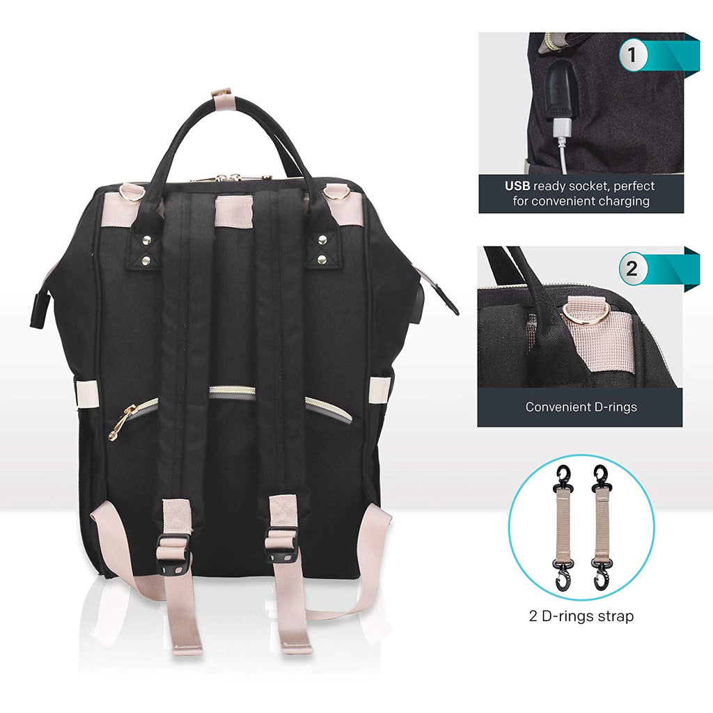 NAPPY CHANGING BACKPACK - BLACK