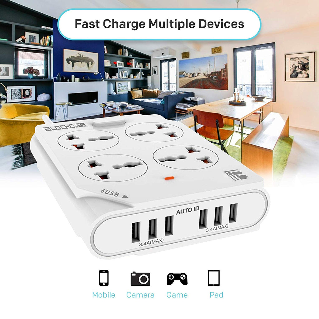 MX 4-WAY OUTLET WITH 6 USB PORTS - WHITE