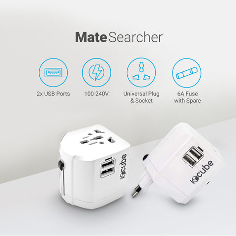Mate Searcher Travel Adapter - White