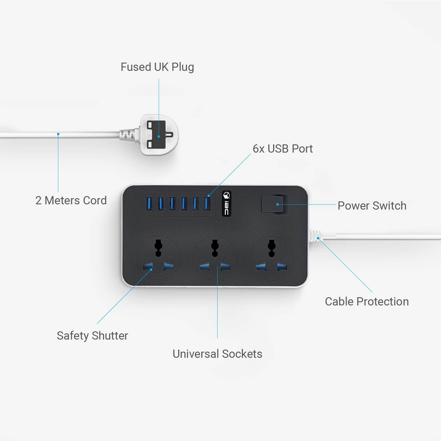 T09 6 USB Port 3 Way Outlet (UK Plug)