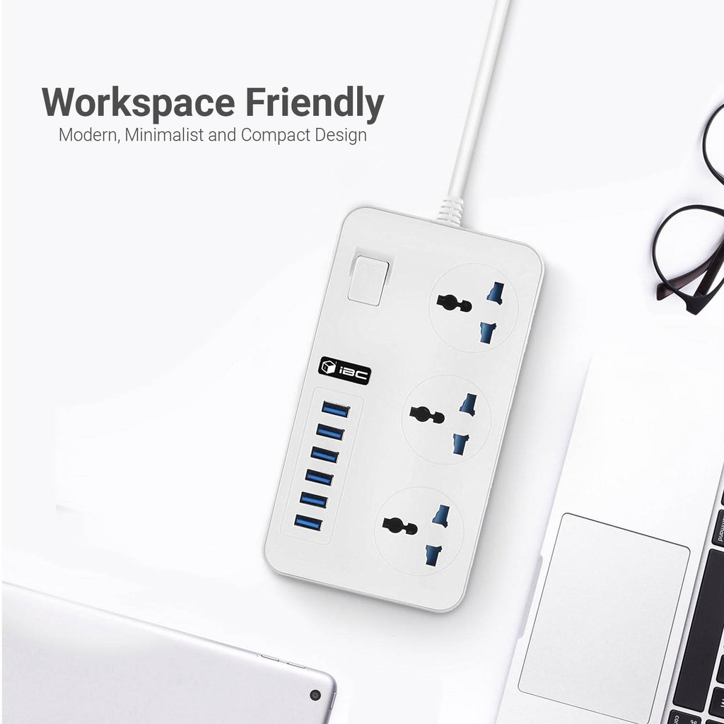 T09 6 USB Port Power Surge Protector-UK White Grey