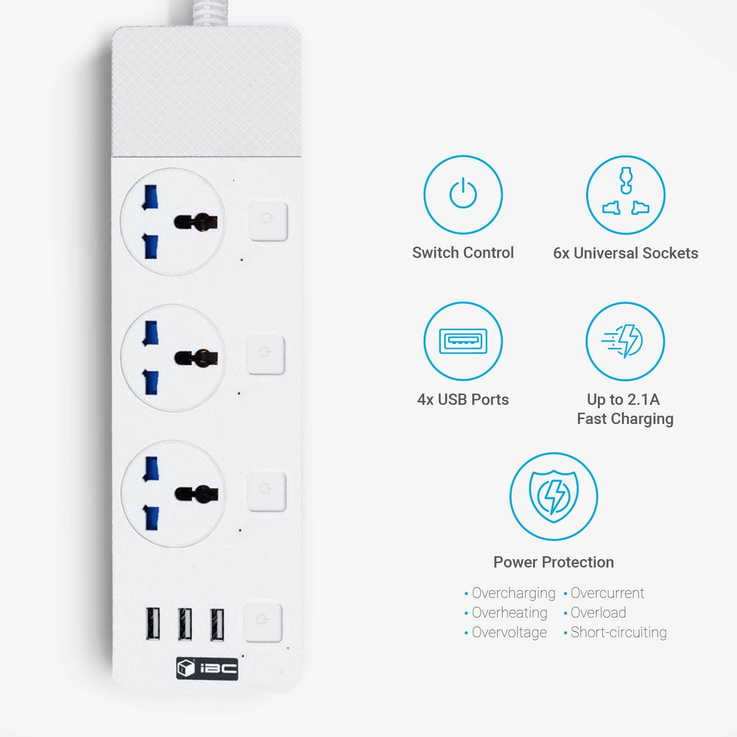 iBlockCube - Extension Lead with USB Ports 3 Way Outlets 3 Ports Surge Protection Power Strip Universal Charging Socket with 2 Meter Bold Extension Cord-White Color