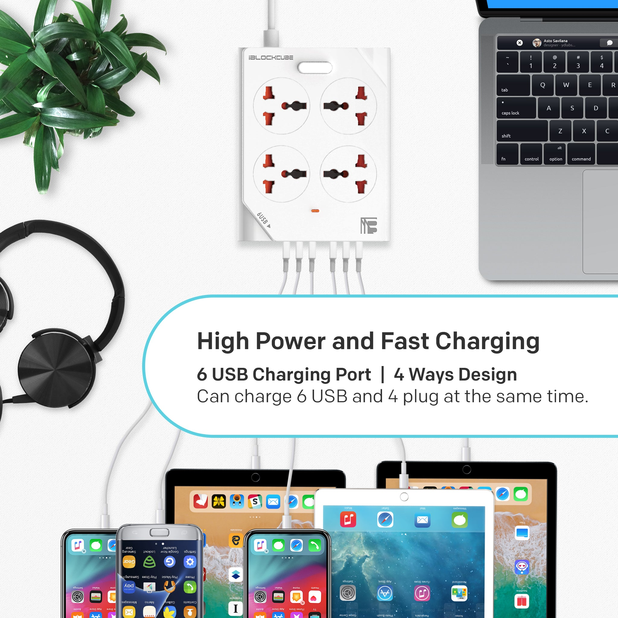 Extension Lead with USB 6 Ports 4 Way Outlets Universal Power Strip